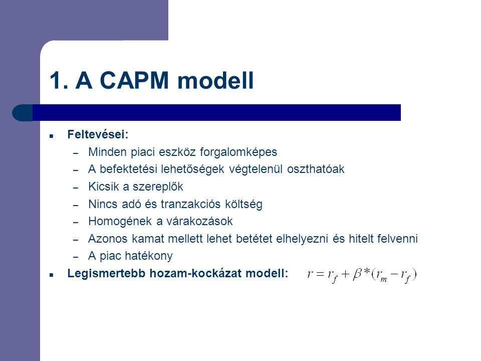 1. A CAPM modell Feltevései: Minden piaci eszköz forgalomképes