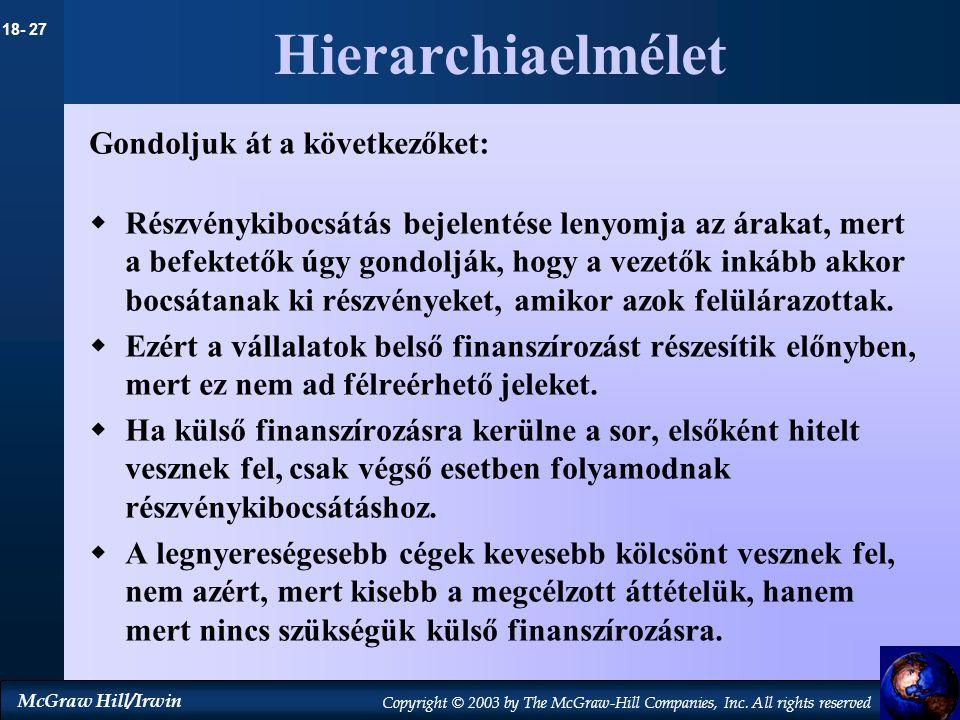 Hierarchiaelmélet Gondoljuk át a következőket: