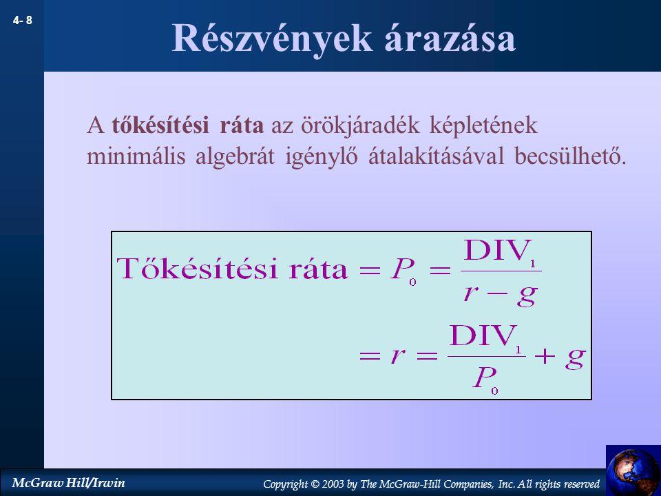 Részvények árazása A tőkésítési ráta az örökjáradék képletének minimális algebrát igénylő átalakításával becsülhető.
