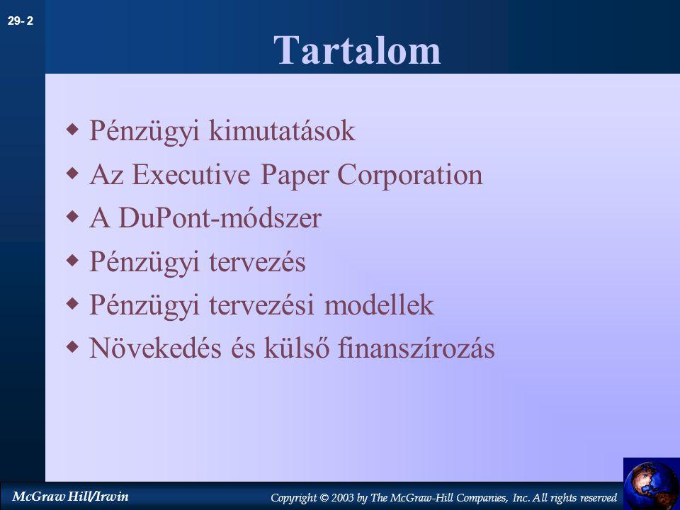 Tartalom Pénzügyi kimutatások Az Executive Paper Corporation