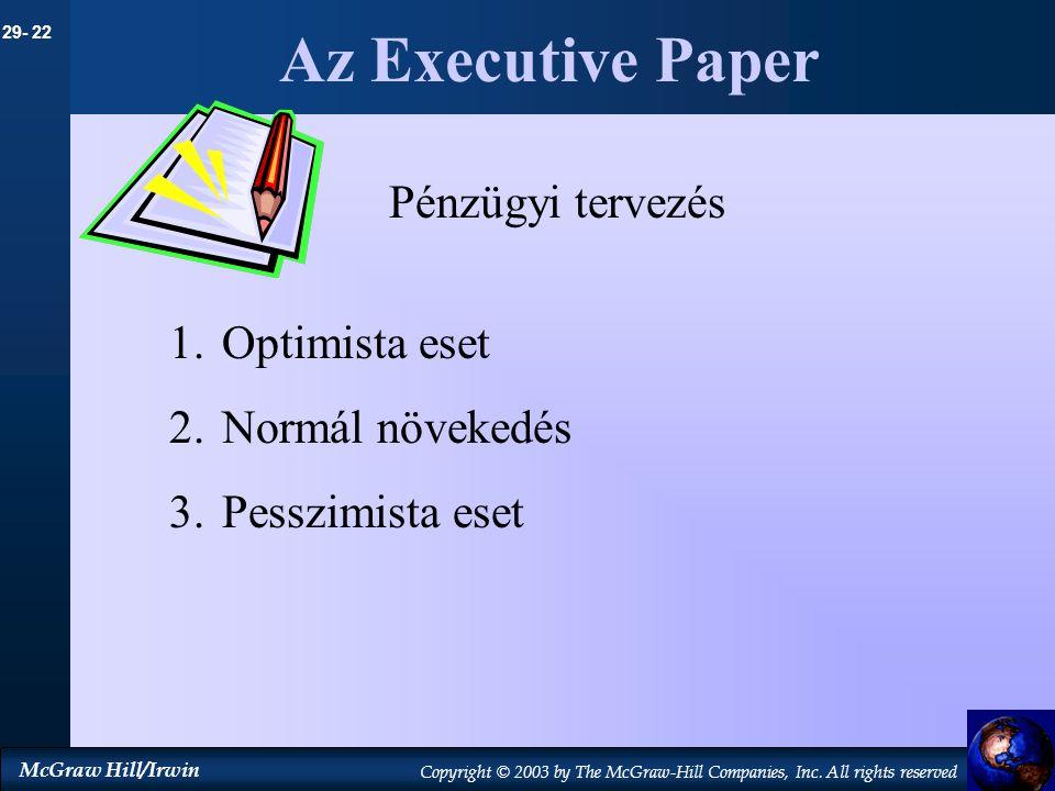 Az Executive Paper Pénzügyi tervezés Optimista eset Normál növekedés