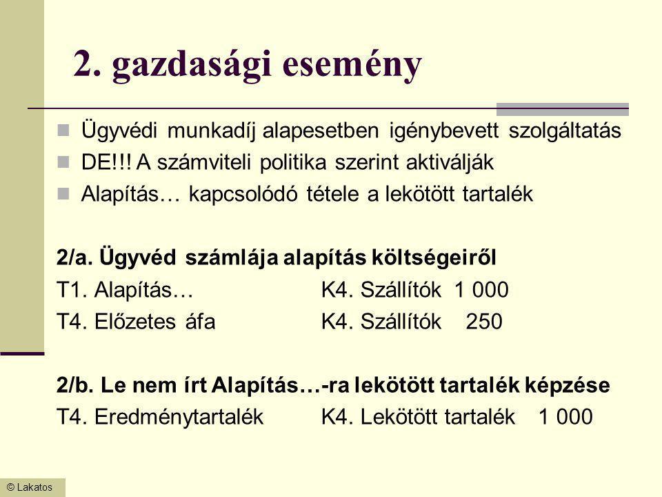 2. gazdasági esemény Ügyvédi munkadíj alapesetben igénybevett szolgáltatás. DE!!! A számviteli politika szerint aktiválják.