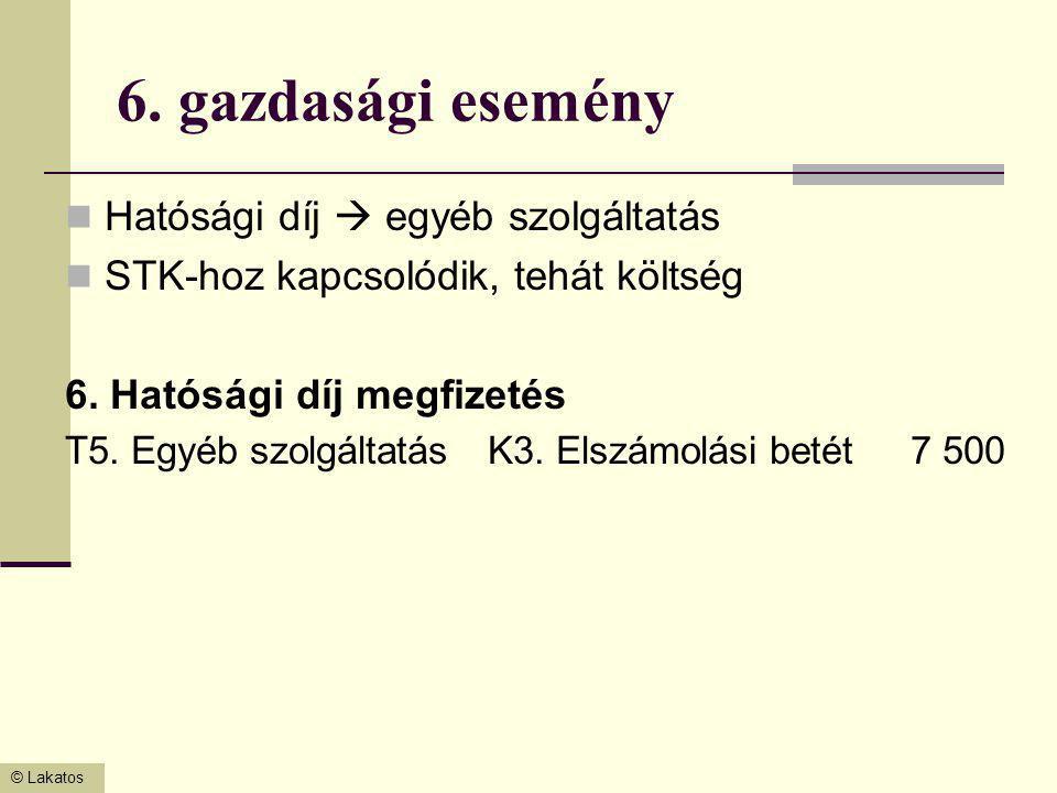 6. gazdasági esemény Hatósági díj  egyéb szolgáltatás
