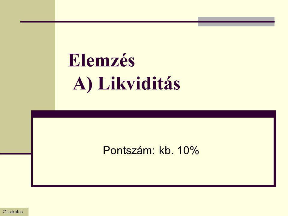Elemzés A) Likviditás Pontszám: kb. 10%