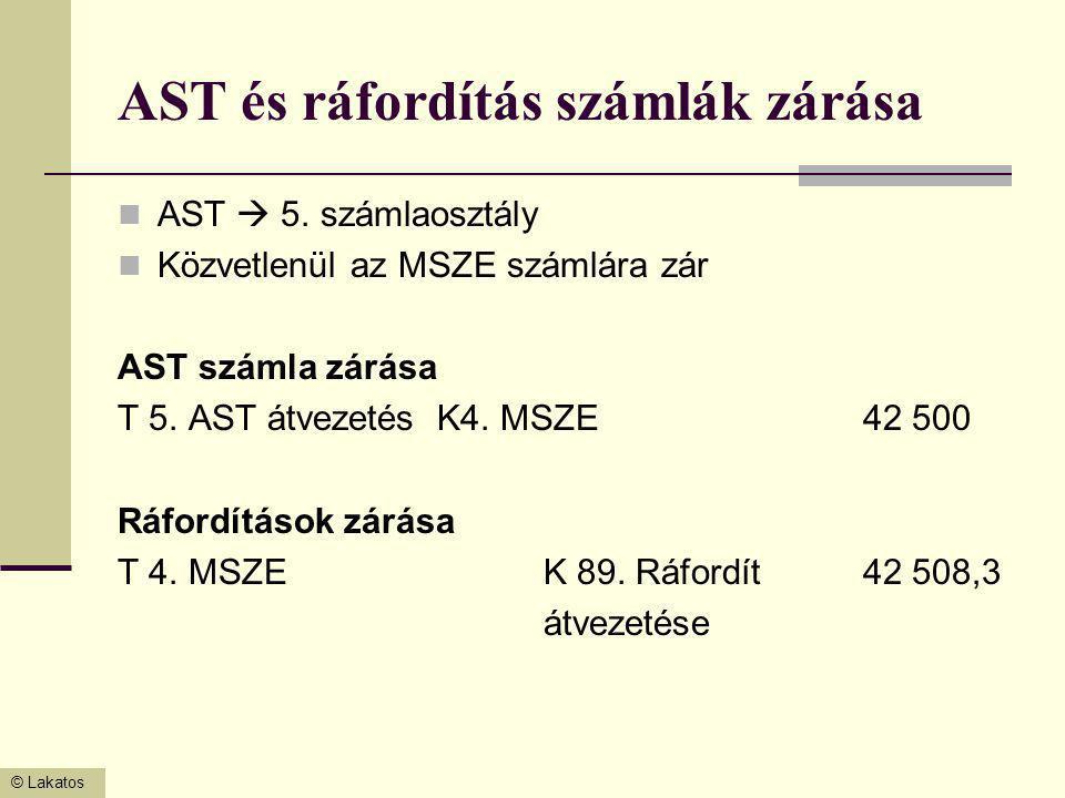 AST és ráfordítás számlák zárása