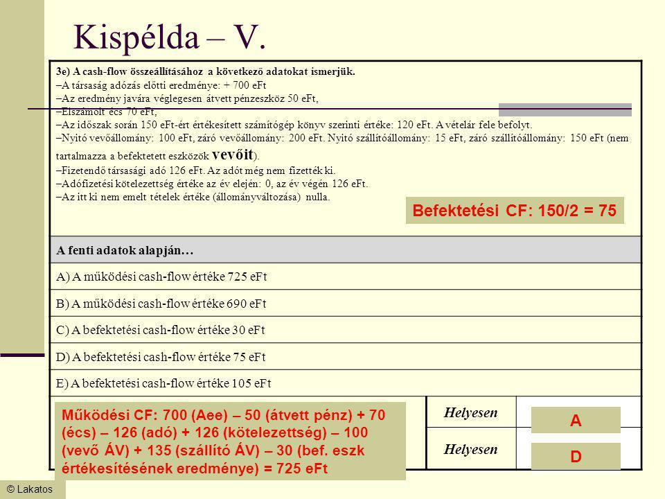 Kispélda – V. Befektetési CF: 150/2 = 75 A D Helyesen
