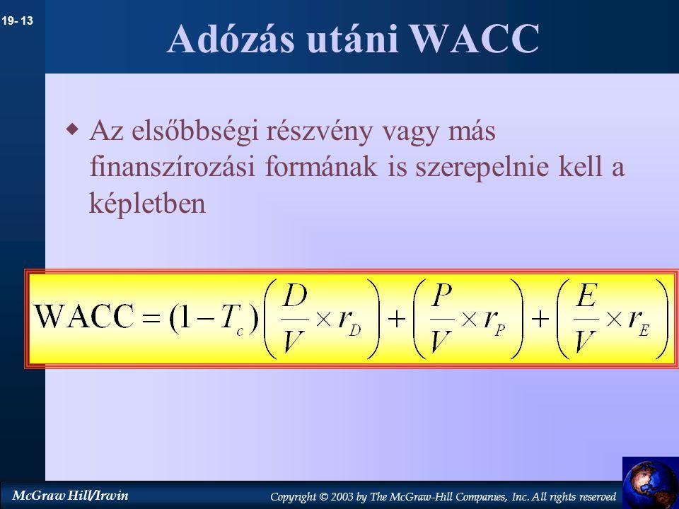 Adózás utáni WACC Az elsőbbségi részvény vagy más finanszírozási formának is szerepelnie kell a képletben.