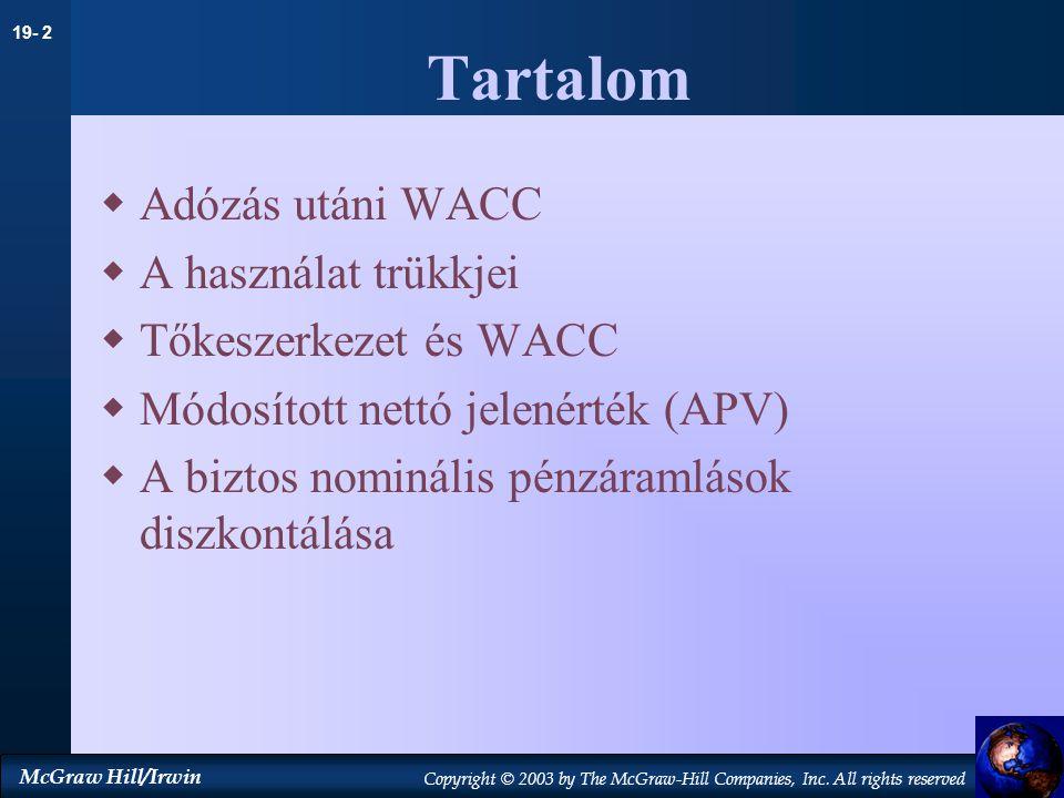 Tartalom Adózás utáni WACC A használat trükkjei Tőkeszerkezet és WACC