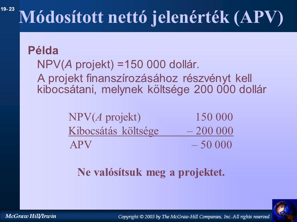 Módosított nettó jelenérték (APV)