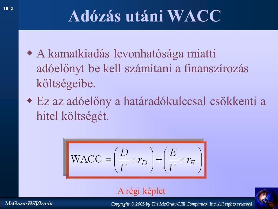 Adózás utáni WACC A kamatkiadás levonhatósága miatti adóelőnyt be kell számítani a finanszírozás költségeibe.