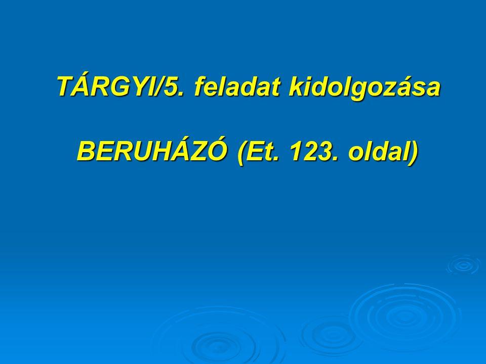 TÁRGYI/5. feladat kidolgozása