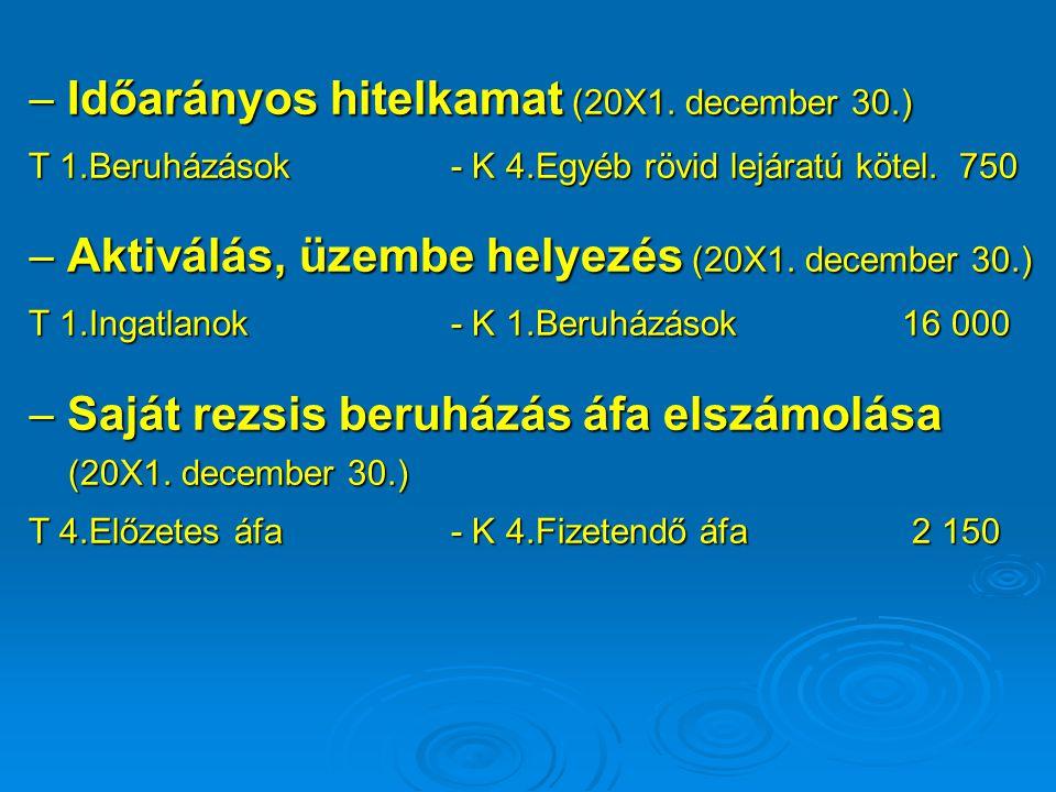  Időarányos hitelkamat (20X1. december 30.)