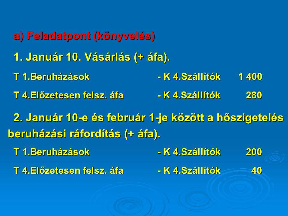 a) Feladatpont (könyvelés) 1. Január 10. Vásárlás (+ áfa).