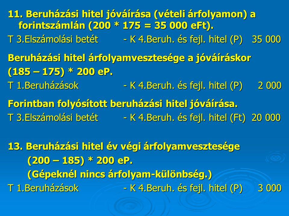 11. Beruházási hitel jóváírása (vételi árfolyamon) a forintszámlán (200 * 175 = 35 000 eFt).