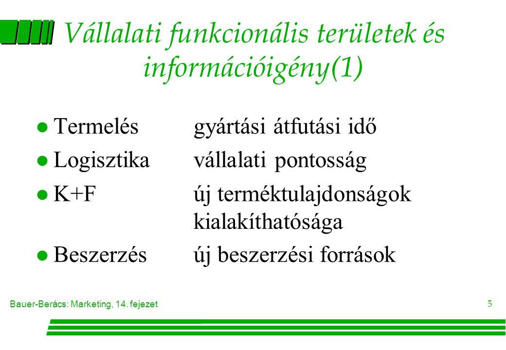 Vállalati funkcionális területek és információigény(1)