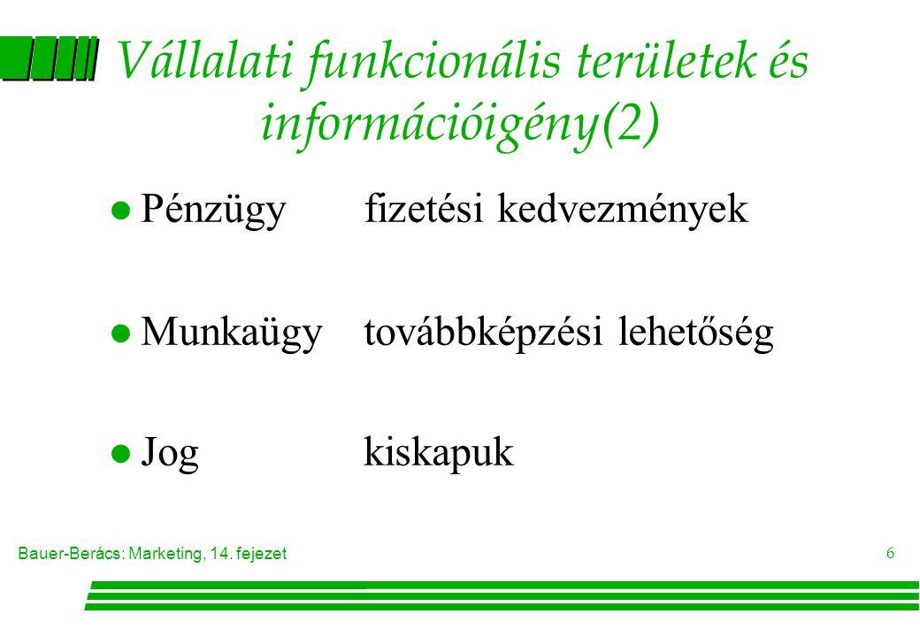 Vállalati funkcionális területek és információigény(2)