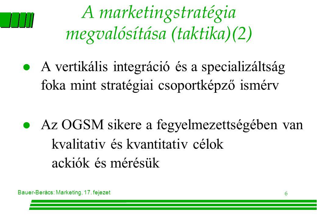 A marketingstratégia megvalósítása (taktika)(2)
