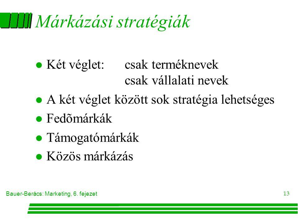 Márkázási stratégiák Két véglet: csak terméknevek csak vállalati nevek