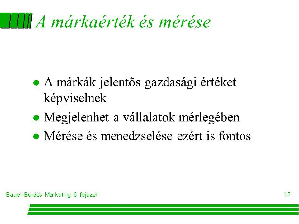 A márkaérték és mérése A márkák jelentõs gazdasági értéket képviselnek