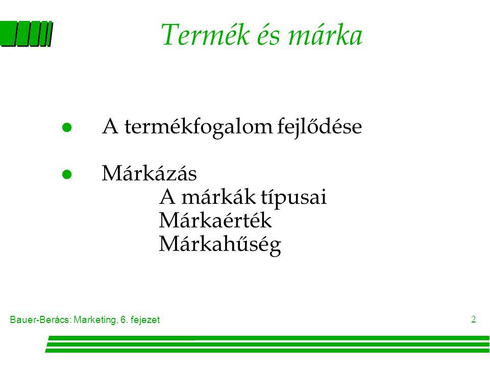 Termék és márka A termékfogalom fejlődése Márkázás A márkák típusai