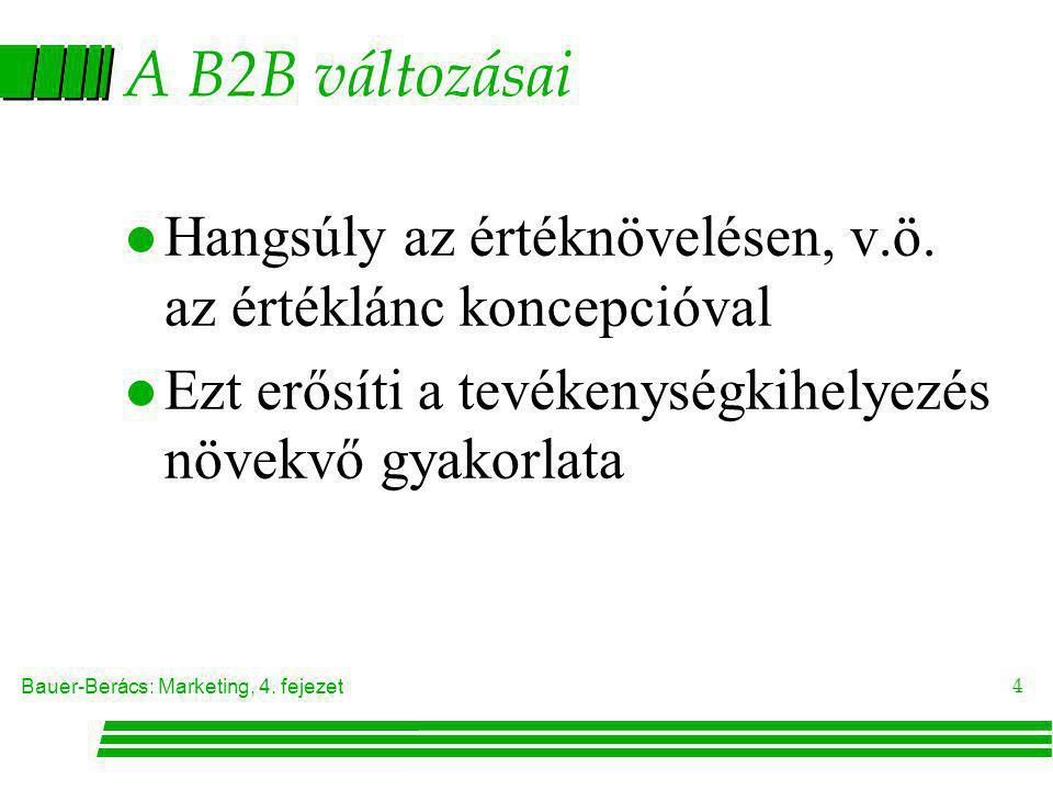 A B2B változásai Hangsúly az értéknövelésen, v.ö. az értéklánc koncepcióval.
