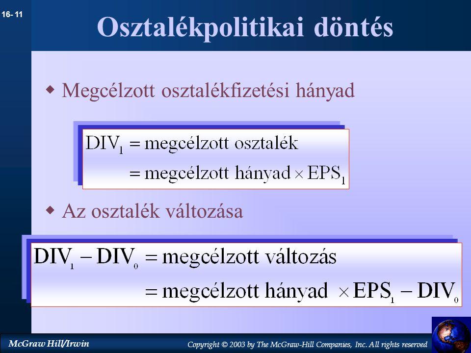 Osztalékpolitikai döntés