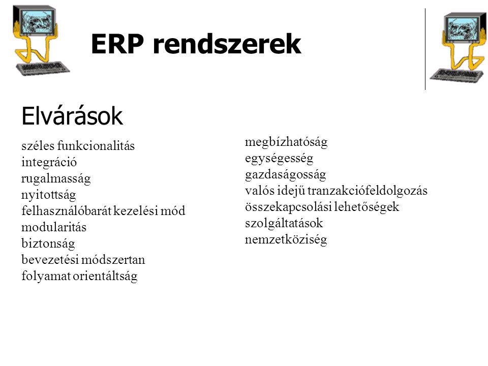 ERP rendszerek Elvárások megbízhatóság széles funkcionalitás