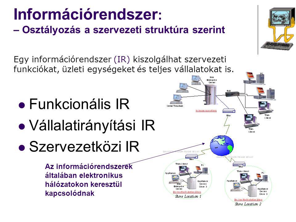 Információrendszer: – Osztályozás a szervezeti struktúra szerint