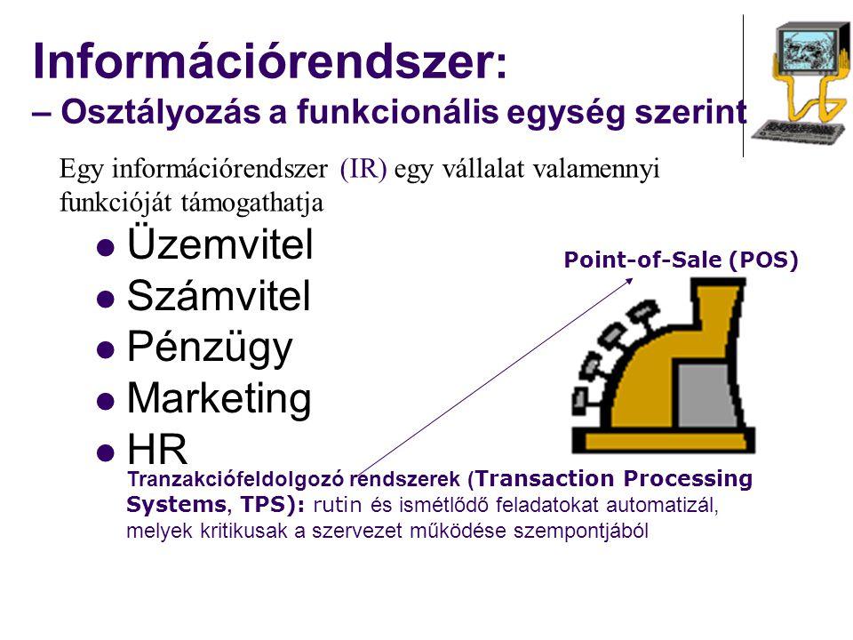 Információrendszer: – Osztályozás a funkcionális egység szerint