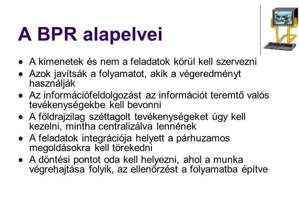 A BPR alapelvei A kimenetek és nem a feladatok körül kell szervezni