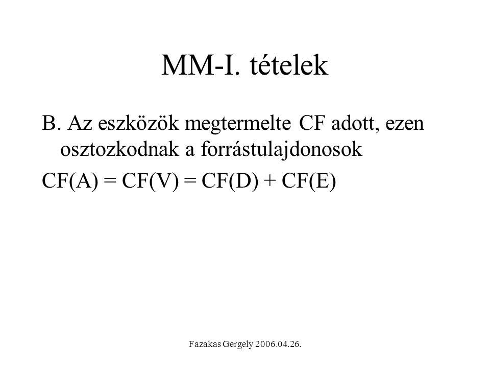 MM-I. tételek B. Az eszközök megtermelte CF adott, ezen osztozkodnak a forrástulajdonosok. CF(A) = CF(V) = CF(D) + CF(E)
