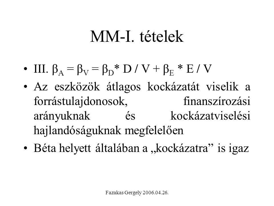 MM-I. tételek III. βA = βV = βD* D / V + βE * E / V