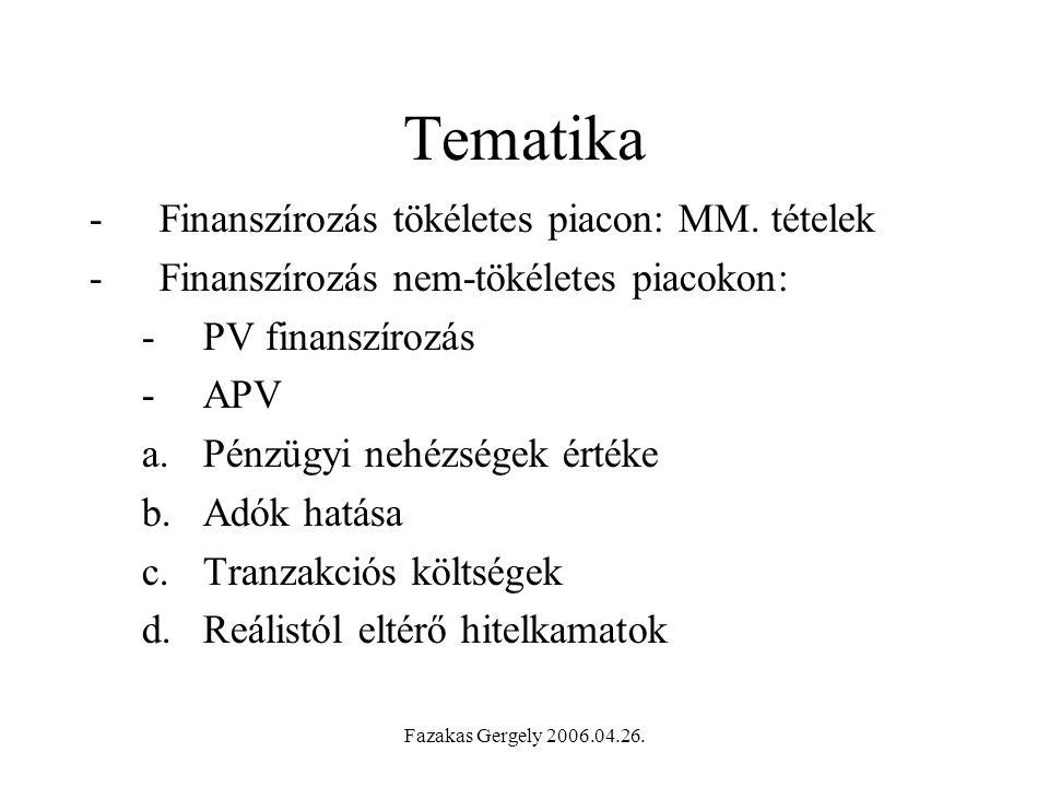 Tematika Finanszírozás tökéletes piacon: MM. tételek