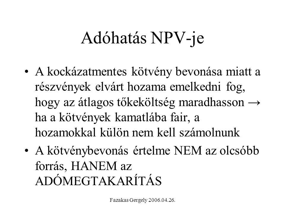 Adóhatás NPV-je