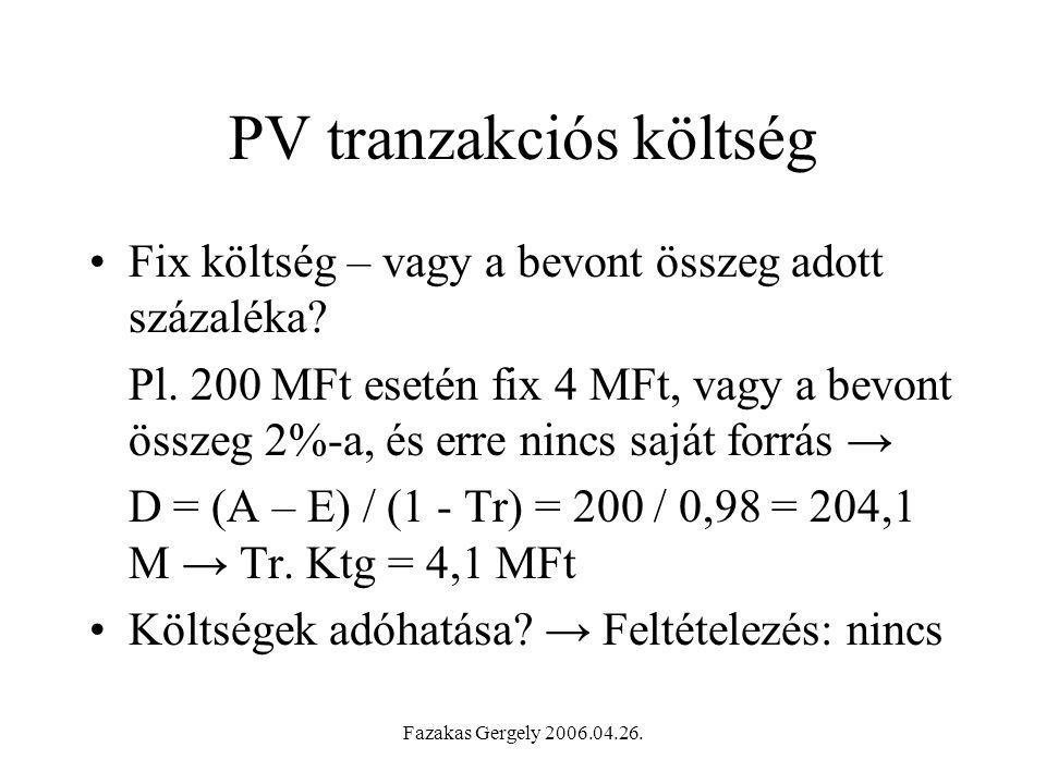 PV tranzakciós költség