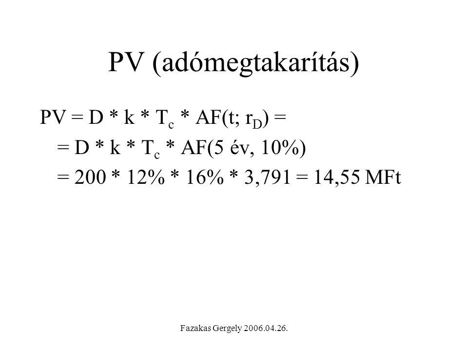 PV (adómegtakarítás) PV = D * k * Tc * AF(t; rD) =