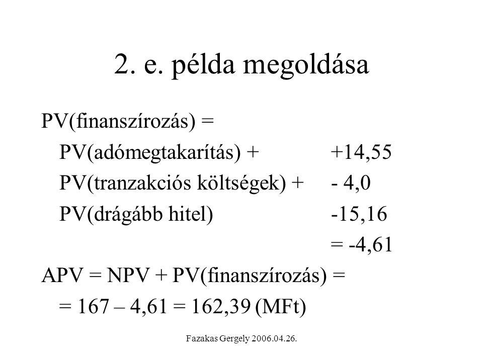2. e. példa megoldása PV(finanszírozás) = PV(adómegtakarítás) + +14,55