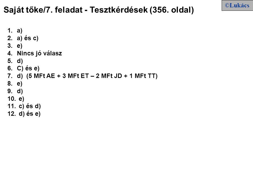 Saját tőke/7. feladat - Tesztkérdések (356. oldal)