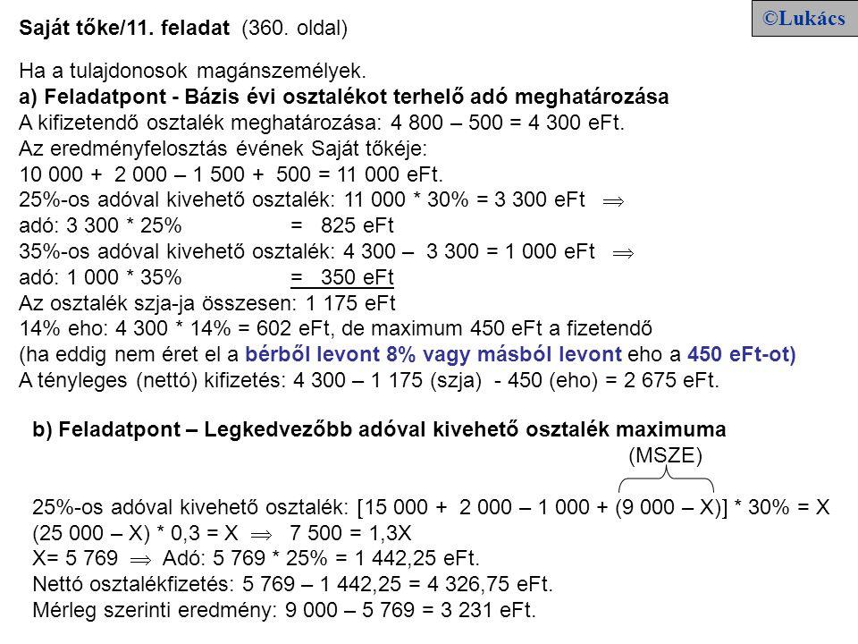 ©Lukács Saját tőke/11. feladat (360. oldal) Ha a tulajdonosok magánszemélyek. a) Feladatpont - Bázis évi osztalékot terhelő adó meghatározása.