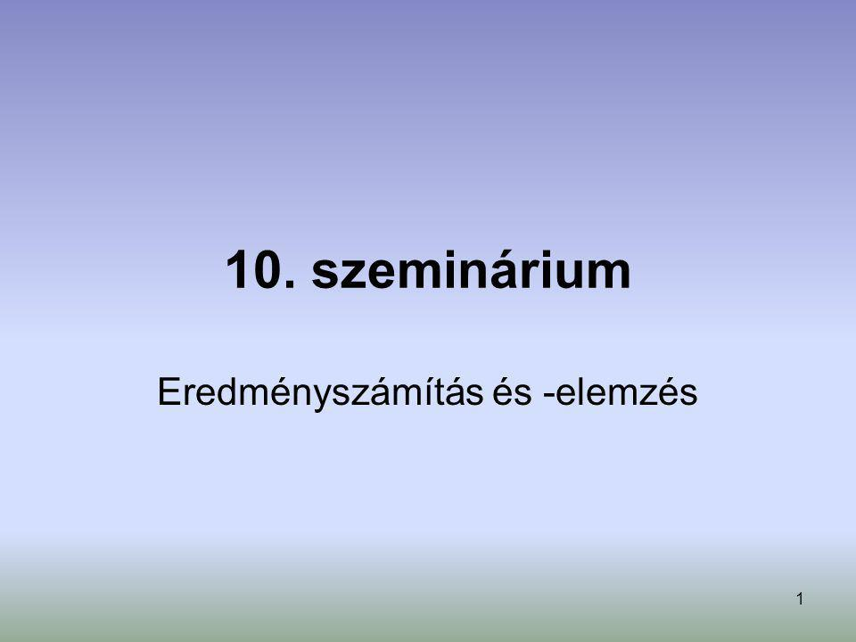 Eredményszámítás és -elemzés