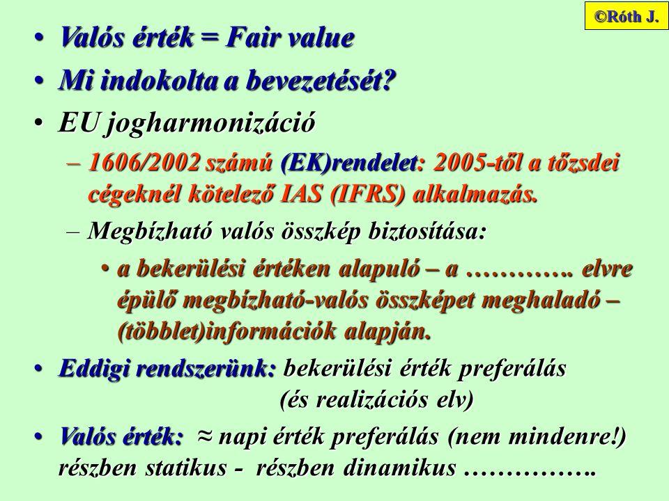Valós érték = Fair value Mi indokolta a bevezetését