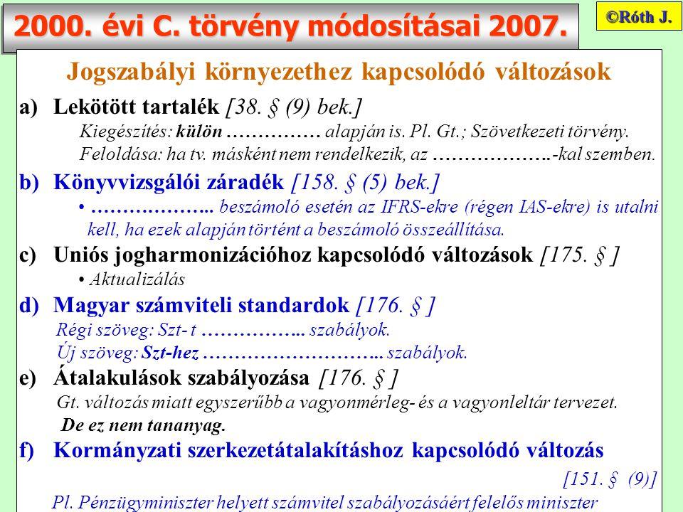 2000. évi C. törvény módosításai 2007.
