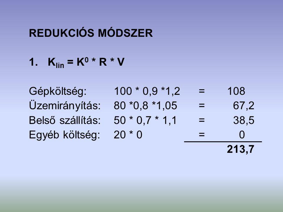 REDUKCIÓS MÓDSZER Klin = K0 * R * V. Gépköltség: 100 * 0,9 *1,2 = 108. Üzemirányítás: 80 *0,8 *1,05 = 67,2.