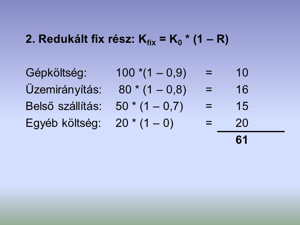 2. Redukált fix rész: Kfix = K0 * (1 – R)
