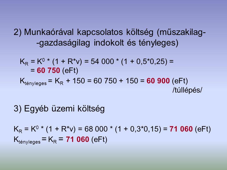 2) Munkaórával kapcsolatos költség (műszakilag-