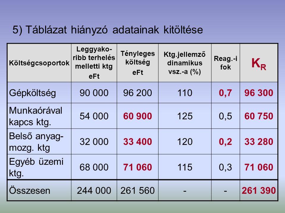 5) Táblázat hiányzó adatainak kitöltése