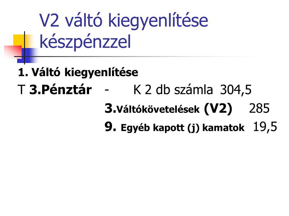 V2 váltó kiegyenlítése készpénzzel