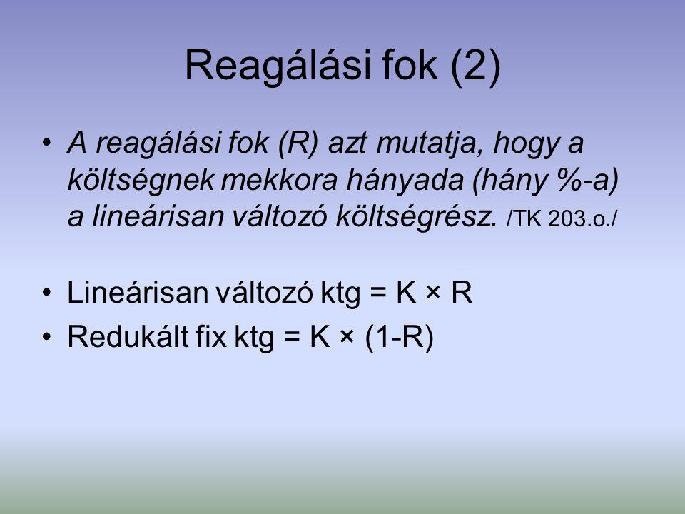 Reagálási fok (2) A reagálási fok (R) azt mutatja, hogy a költségnek mekkora hányada (hány %-a) a lineárisan változó költségrész. /TK 203.o./