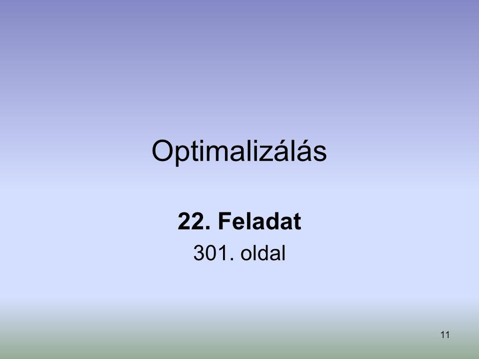 Optimalizálás 22. Feladat 301. oldal
