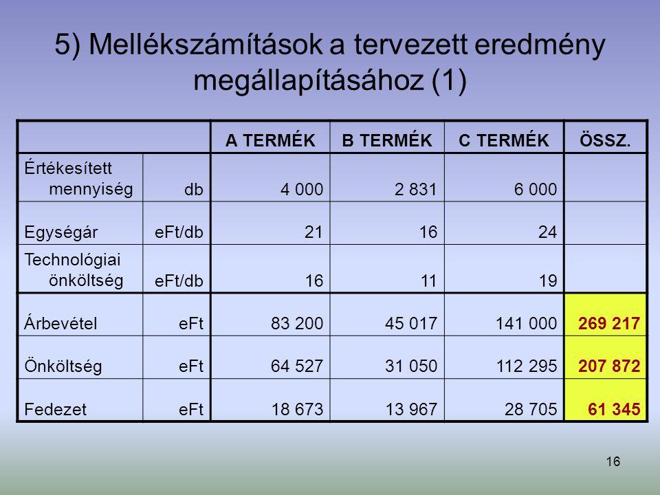 5) Mellékszámítások a tervezett eredmény megállapításához (1)